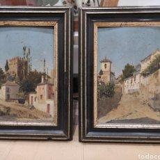 Arte: EDUARDO LAFORET ALFARO (1850-1941) - VISTAS DE GRANADA. PAREJA DE OLEOS SOBRE TABLA. CON MARCO 35X27. Lote 225043185