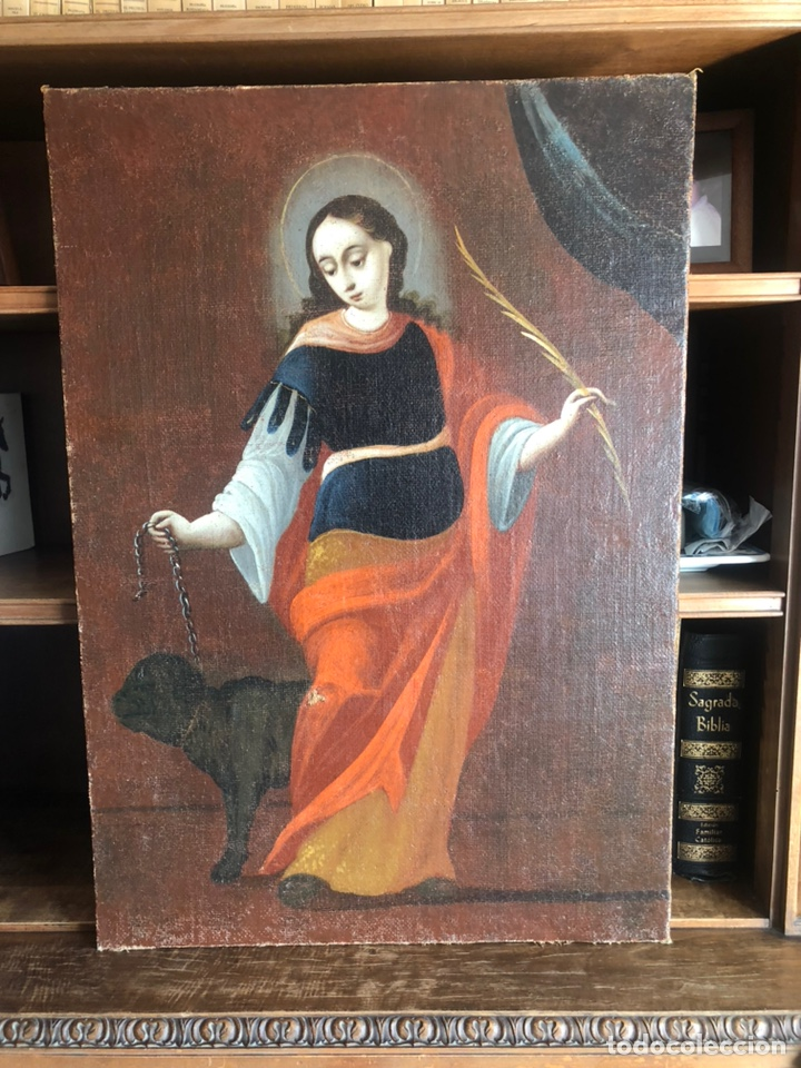 SANTA MARGARITA SIGLO XVII. ÓLEO SOBRE LIENZO (Arte - Pintura - Pintura al Óleo Antigua siglo XVII)