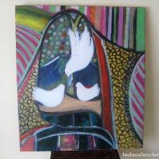 "Arte: GRAN OLEO SOBRE LIENZO FIRMADO HELIO GOGAR(RIAÑO 1947 SANTANDER 2015 ""PALOMAS DE LA PAZ"" 100 X 88. Lote 225313545"