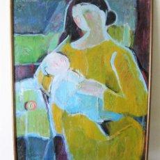 """Arte: LUZ DE ALVEAR OLEO SOBRE LIENZO """"MATERNIDAD EN AMARILLO"""" FIRMADO. Lote 225318345"""