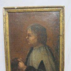 Arte: MONAGUILLO - FRAGMENTO DE UN CUADRO EN LIENZO AL ÓLEO DEL SIGLO XVIII. Lote 225342125