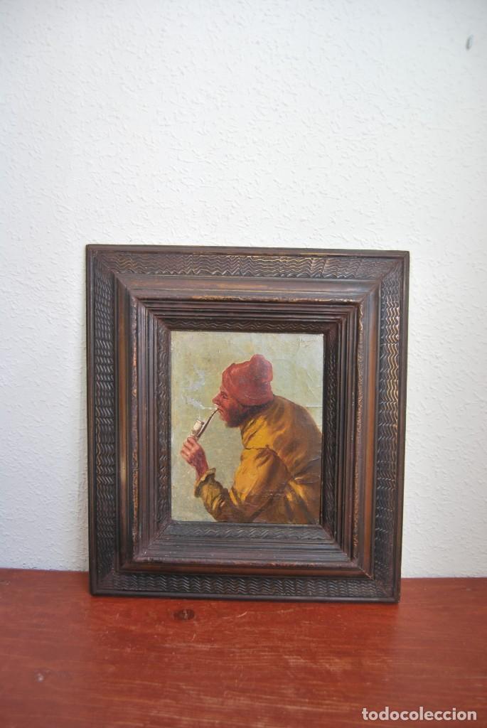 MAGNÍFICO ÓLEO HOLANDÉS - RETRATO DE HOMBRE - MARINERO FUMANDO EN PIPA - PESCADOR - SIGLO XVIII (Arte - Pintura - Pintura al Óleo Antigua siglo XVIII)
