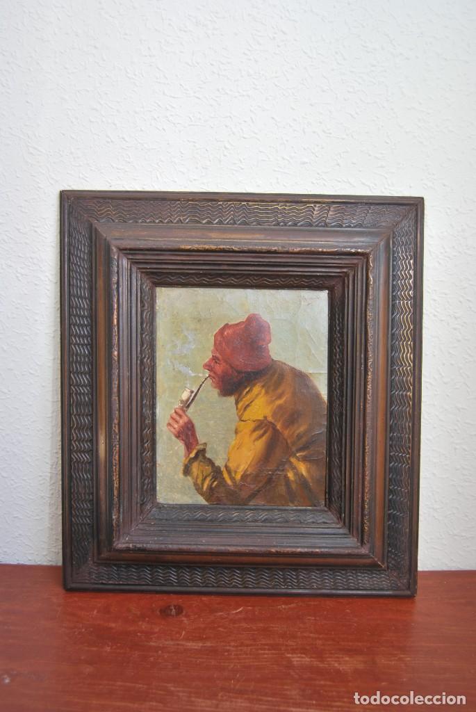 Arte: MAGNÍFICO ÓLEO HOLANDÉS - RETRATO DE HOMBRE - MARINERO FUMANDO EN PIPA - PESCADOR - SIGLO XVIII - Foto 3 - 225501405
