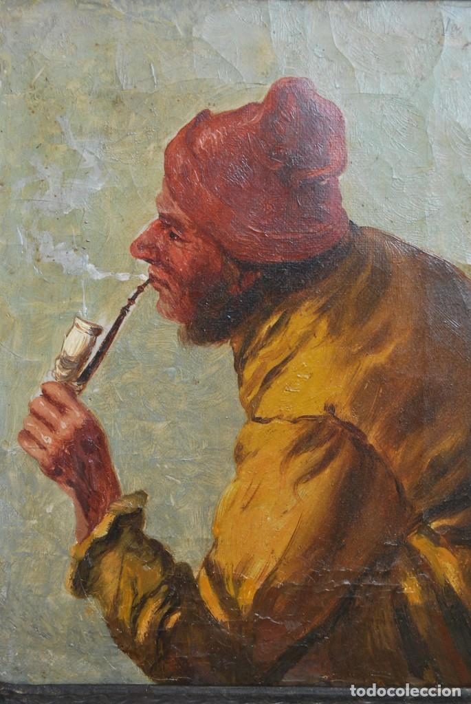 Arte: MAGNÍFICO ÓLEO HOLANDÉS - RETRATO DE HOMBRE - MARINERO FUMANDO EN PIPA - PESCADOR - SIGLO XVIII - Foto 10 - 225501405