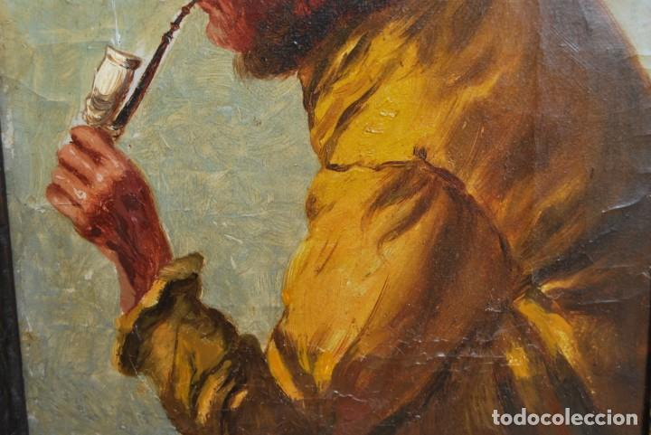 Arte: MAGNÍFICO ÓLEO HOLANDÉS - RETRATO DE HOMBRE - MARINERO FUMANDO EN PIPA - PESCADOR - SIGLO XVIII - Foto 14 - 225501405