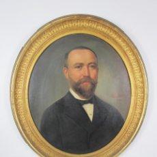 Arte: JAUME PONS MARTÍ (BARCELONA, 1855-GIRONA 1931) ÓLEO SOBRE TELA - RETRATO CABALLERO - MARCO DORADO. Lote 225585815