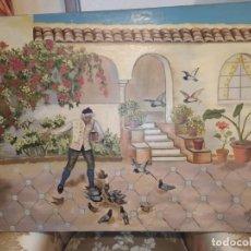 Arte: ANTIGUO CURIOSO SIMPÁTICO OLEO SOBRE LIENZO FIRMADO MARÍA RIPOLLÉS HOMBRE DANDO COMIDA PALOMAS PATIO. Lote 225638310