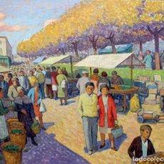 Arte: SEBASTIA CONGOST PLA (OLOT, 1919 - 2009) OLEO SOBRE TELA TITULADO DIA DE MERCAT. Lote 225711627