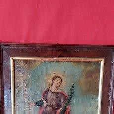 Arte: OLEO SOBRE LIENZO SIGLO XVIII EXVOTO SANTA PRISCA V.M.ABOGADA DE RAYOS Y TORMENTAS. Lote 224726701