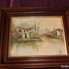 Arte: BONITO PAISAJE PINTADO AL OLEO SOBRE LIENZO EN MARCO DE MADERA-FIRMA A IDENTIFICAR. Lote 225877205
