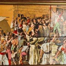 Arte: EL GRITO DEL PALLETER DECLARANDO LA GUERRA A NAPOLEÓN JOAQUÍN SOROLLA, EN AZULEJOS PINTADO A MANO. Lote 225893565