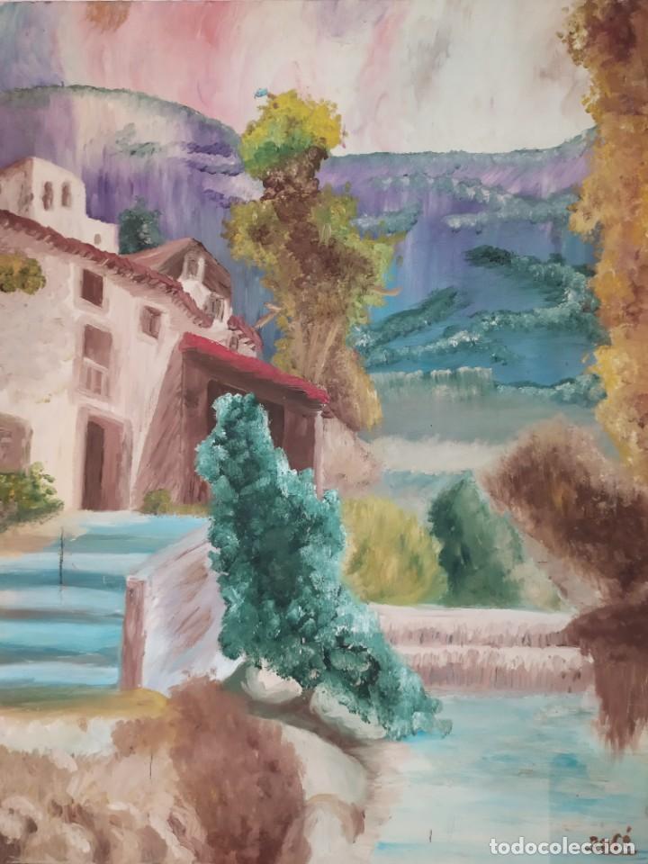 ÓLEO SOBRE LIENZO PAISAJE CASAS MASÍA MONTAÑAS FIRMADO JOSE ANTIGUO (Arte - Pintura - Pintura al Óleo Antigua sin fecha definida)