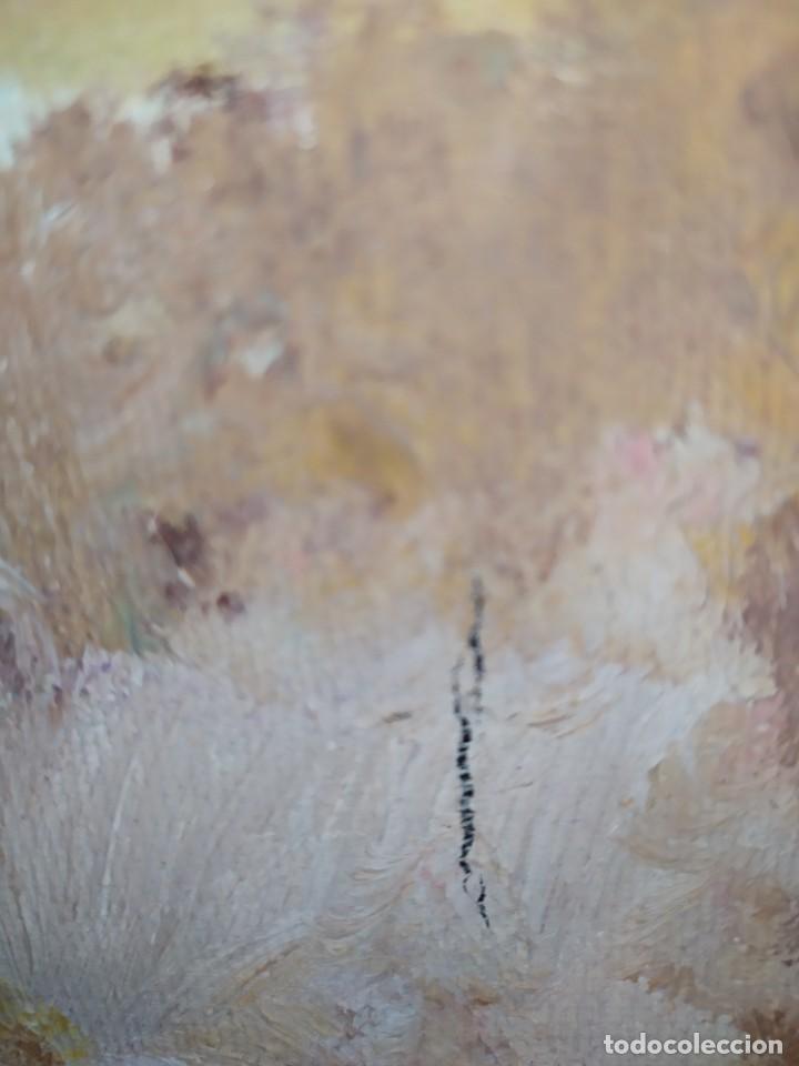 Arte: ÓLEO SOBRE LIENZO PAISAJE CASAS MASÍA MONTAÑAS FIRMADO JOSE ANTIGUO - Foto 5 - 225920405