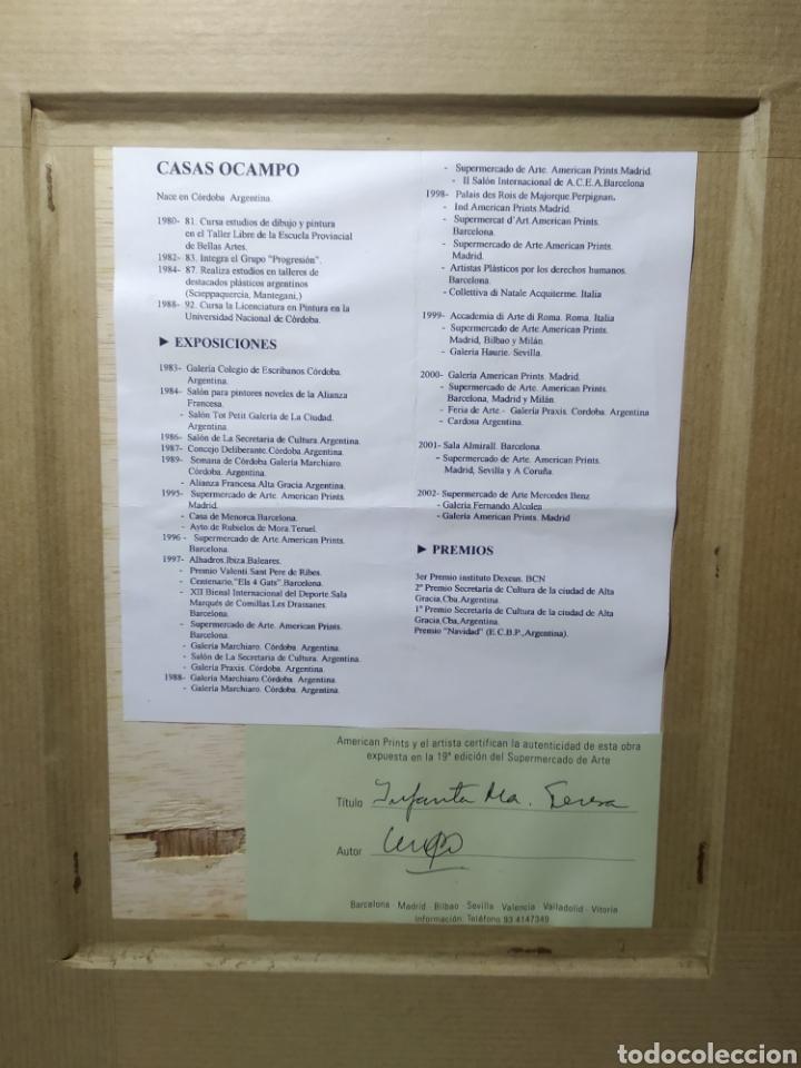 Arte: CUADRO PINTORA CASAS OCAMPO, CON CERTIFICADO. INFANTA M TERESA. - Foto 6 - 225922507