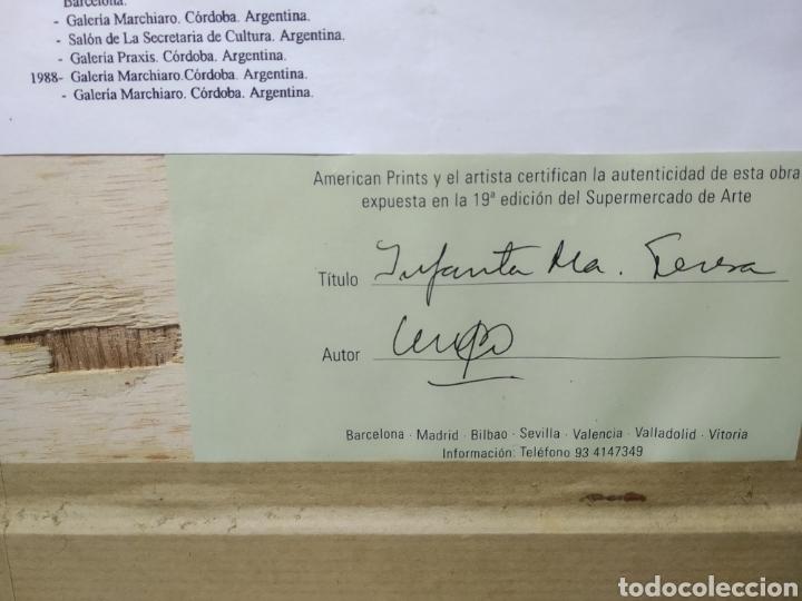 Arte: CUADRO PINTORA CASAS OCAMPO, CON CERTIFICADO. INFANTA M TERESA. - Foto 7 - 225922507