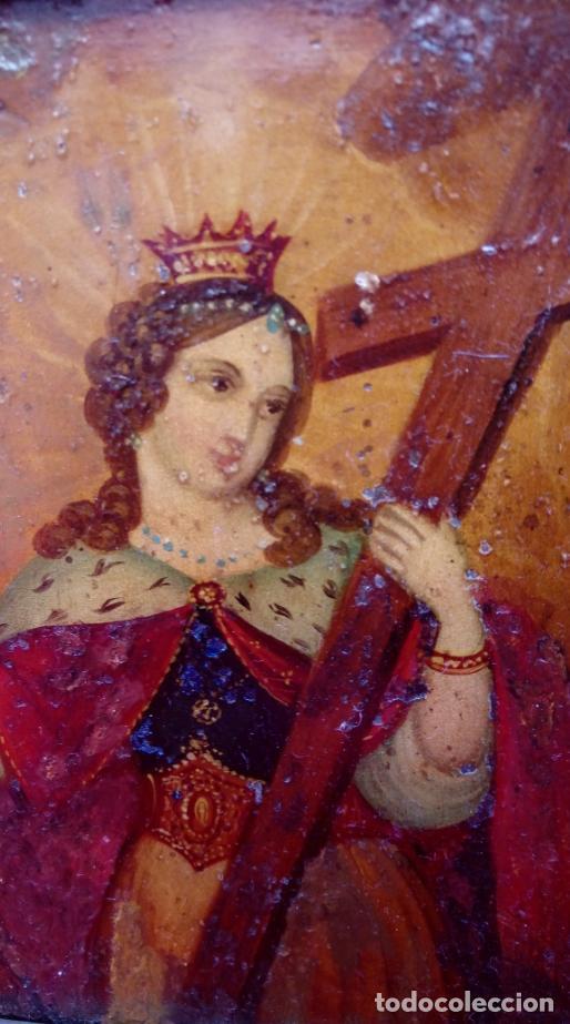 Arte: ÓLEO S/COBRE -SANTA ELENA-. ESCUELA FLAMENCA FINALES S. XVII. DIM.- 23.5X20.5 CMS CON MARCO. - Foto 3 - 152052042