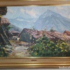 Arte: CUADRO CON ÓLEO DE PAISAJE DE BELENO(ASTURIAS) DEL PINTOR IGLESIAS SANZ. Lote 226184940