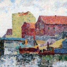 Arte: GREGORII JSRAILJEW ZEITLINA (RUSIA, 1911 - 2000) OLEO SOBRE TELA. VISTA DE UN PUERTO. Lote 226216225