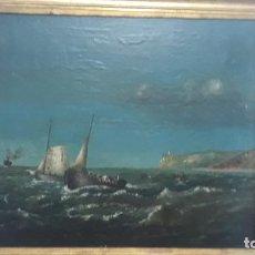 Arte: PINTURA AL OLEO SIGLO XIX,COSTA DE DENIA,PESCADORES ,CABO SAN ANTONIO DESDE LAS ROTAS. Lote 226261246