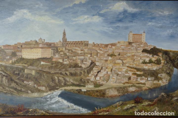 Arte: Gran oleo sobre lienzo vista de la ciudad de Toledo. Firmado. 1991. - Foto 2 - 226296235