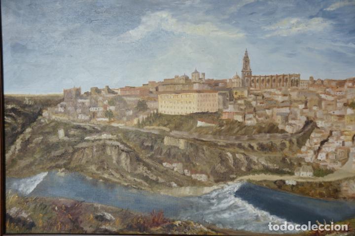 Arte: Gran oleo sobre lienzo vista de la ciudad de Toledo. Firmado. 1991. - Foto 3 - 226296235