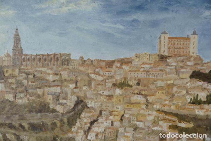 Arte: Gran oleo sobre lienzo vista de la ciudad de Toledo. Firmado. 1991. - Foto 5 - 226296235
