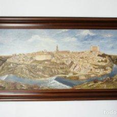 Arte: GRAN OLEO SOBRE LIENZO VISTA DE LA CIUDAD DE TOLEDO. FIRMADO. 1991.. Lote 226296235