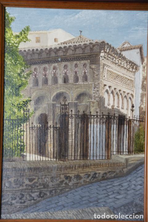Arte: Bello oleo sobre lienzo de la antigua mezquita del Cristo de la luz en Toledo. Firmado. Siglo XX. - Foto 2 - 226297200