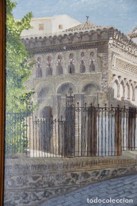 Arte: Bello oleo sobre lienzo de la antigua mezquita del Cristo de la luz en Toledo. Firmado. Siglo XX. - Foto 3 - 226297200