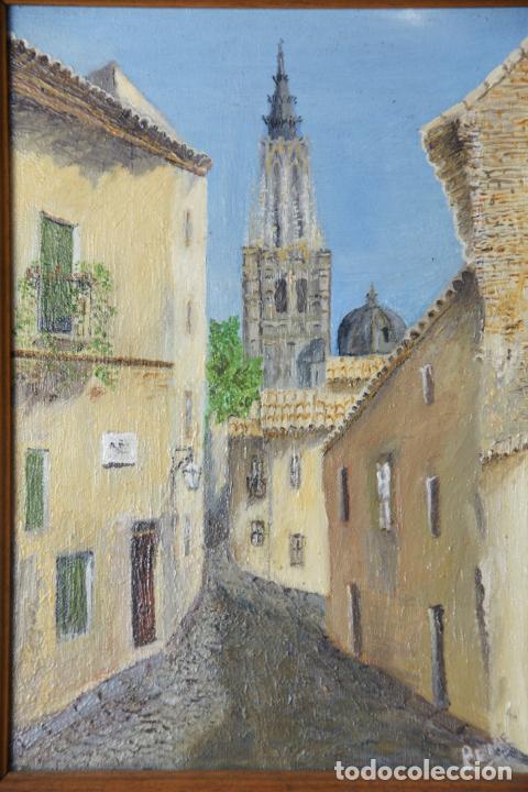 Arte: Bello oleo sobre lienzo de una callejuela de Toledo. Firmado. Siglo XX. - Foto 2 - 226297542