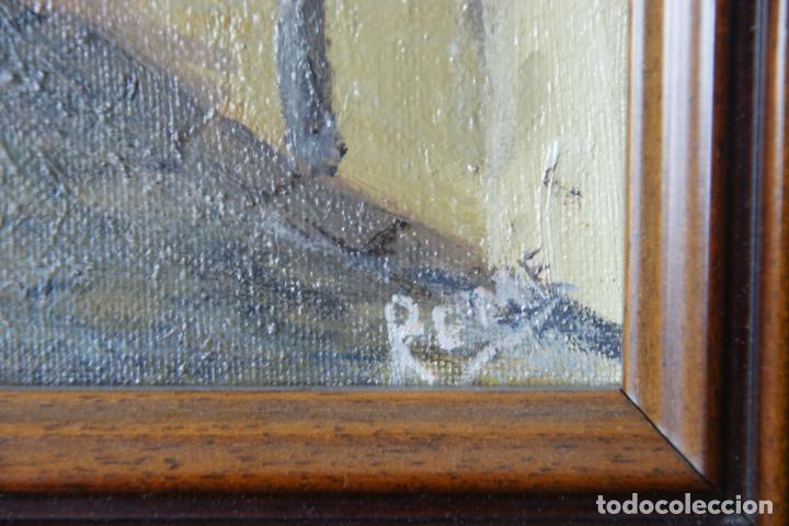 Arte: Bello oleo sobre lienzo de una callejuela de Toledo. Firmado. Siglo XX. - Foto 3 - 226297542
