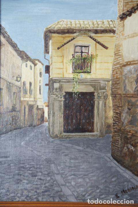 Arte: Bello oleo sobre lienzo de una callejuela de Toledo. Firmado. Siglo XX. - Foto 2 - 226297898
