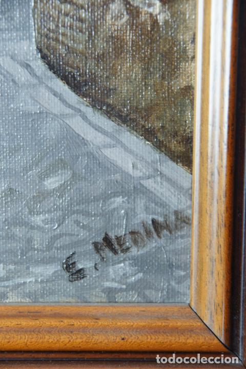 Arte: Bello oleo sobre lienzo de una callejuela de Toledo. Firmado. Siglo XX. - Foto 3 - 226297898