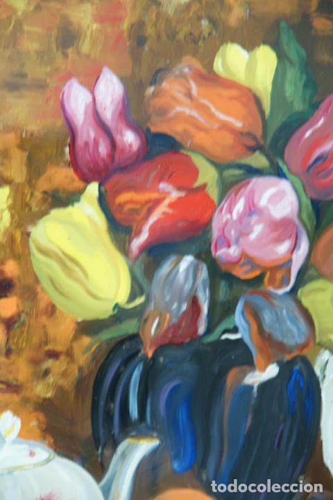 Arte: Bellísimo oleo sobre cristal. Bodegón floral con plato pintado. Siglo XIX-XX. - Foto 4 - 226302378