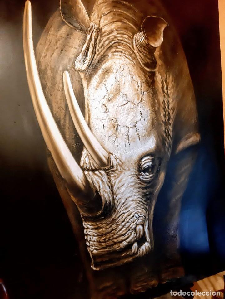 Arte: Oleo sobre lienzo Rinoceronte - Foto 2 - 226418656