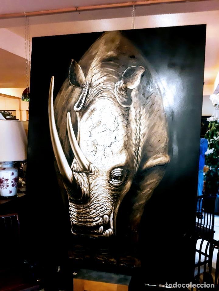 Arte: Oleo sobre lienzo Rinoceronte - Foto 3 - 226418656