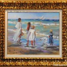 Arte: RICARDO QUIROGA - BARCELONA 1.959 ÓLEO / LIENZO FAMILIA EN LA PLAYA. Lote 226431070