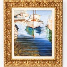 Arte: DAVID PLANET - BARCELONA 1977 ÓLEO SOBRE LIENZO - BARCA EN EL ENBARCADERO - OBRA ENMARCADA. Lote 226433482