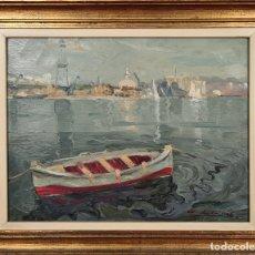 Arte: MARINA CON BARCA. ÓLEO SOBRE TABLA. ANTONI LLOBET. SIGLO XX.. Lote 226433505