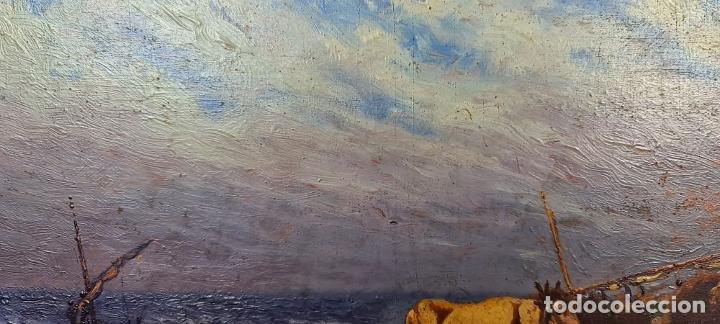 Arte: BUEYES EN LA PLAYA. ÓLEO SOBRE TABLA. FIRMA ILEGIBLE. SIGLO XX. - Foto 5 - 226484210