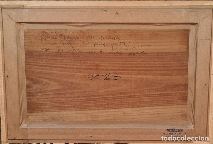 Arte: BUEYES EN LA PLAYA. ÓLEO SOBRE TABLA. FIRMA ILEGIBLE. SIGLO XX. - Foto 8 - 226484210