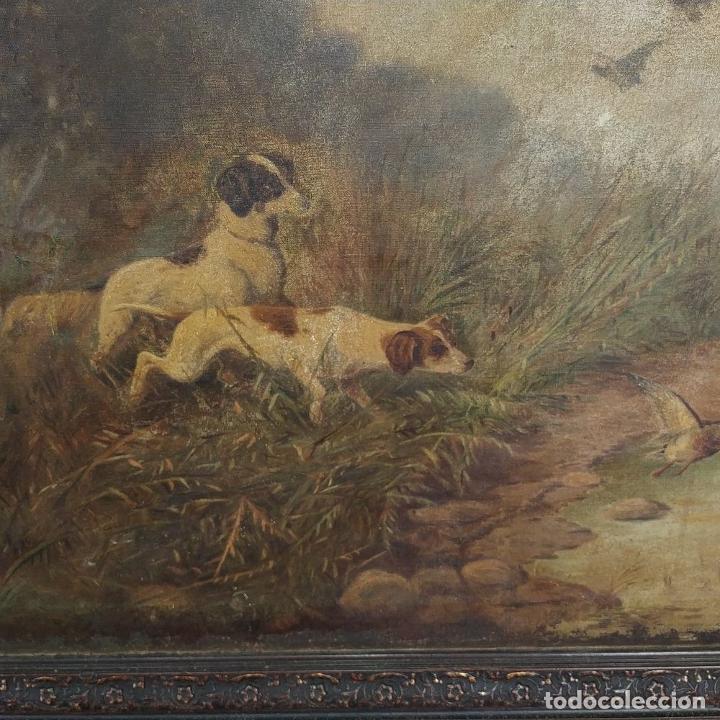 Arte: PERROS CAZANDO. ÓLEO SOBRE LIENZO. FIRMADO. D. ROQUETA(?). ESPAÑA. CIRCA 1890 - Foto 5 - 226528845