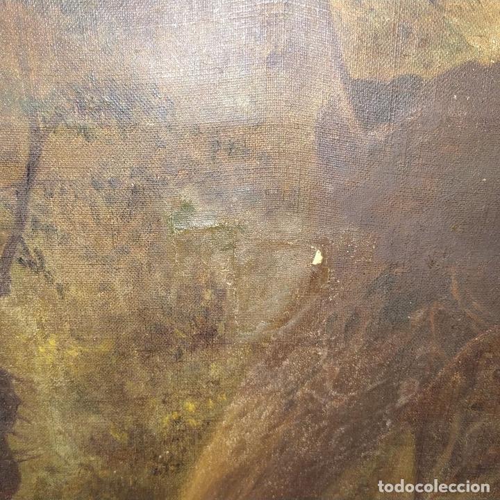 Arte: PERROS CAZANDO. ÓLEO SOBRE LIENZO. FIRMADO. D. ROQUETA(?). ESPAÑA. CIRCA 1890 - Foto 10 - 226528845