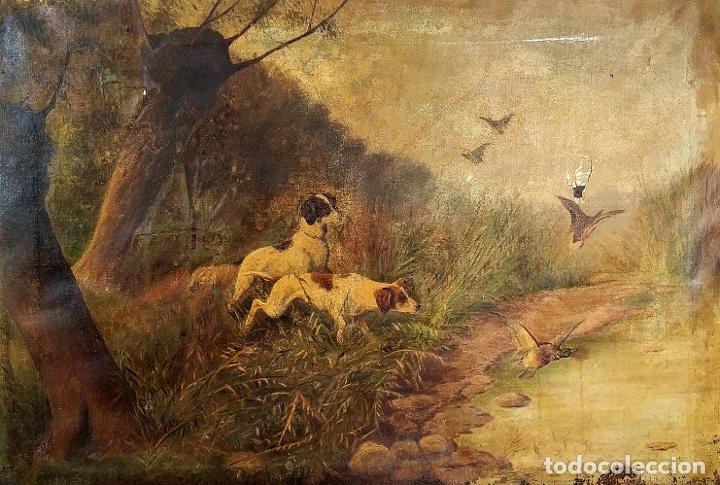 PERROS CAZANDO. ÓLEO SOBRE LIENZO. FIRMADO. D. ROQUETA(?). ESPAÑA. CIRCA 1890 (Arte - Pintura - Pintura al Óleo Moderna siglo XIX)