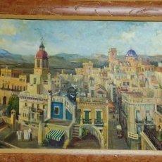 Arte: OLEO SOBRE LIENZO ,VISTA PANORAMICA DE ELCHE .FIRMADO EDUARDO RODRIGUEZ SAMPER.110X70. Lote 224896195