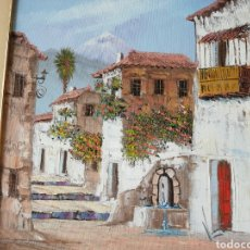 Arte: OLEO PAISAJE CON TEIDE DE FONDO.... PLACA DE AUTOR. Lote 226639065