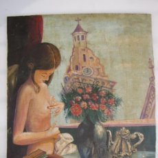 Arte: OLEO SOBRE TABLA, DESNUDO NAIF . FIRMA CANO. Lote 226643070