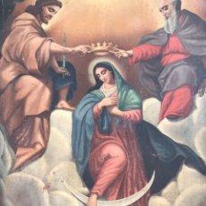 Arte: ESCUELA ITALIANA S XVII 'INCORONAZIONE DELLA VERGINE' 82CM X112CM, ÓLEO SOBRE LIENZO. Lote 176873738