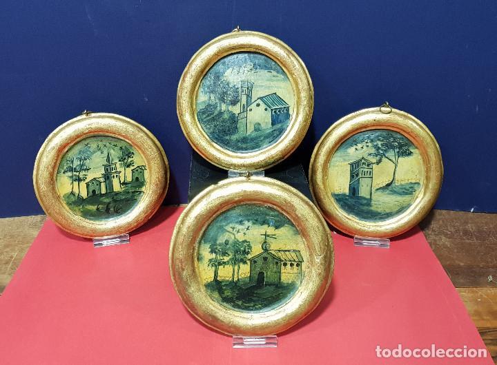 MEDALLONES OVALADOS DE MADERA (4) EN GRISALLA AZUL CON PAISAJES Y ARQUITECTURAS. DELFT, S. XVIII. (Arte - Pintura - Pintura al Óleo Antigua siglo XVIII)