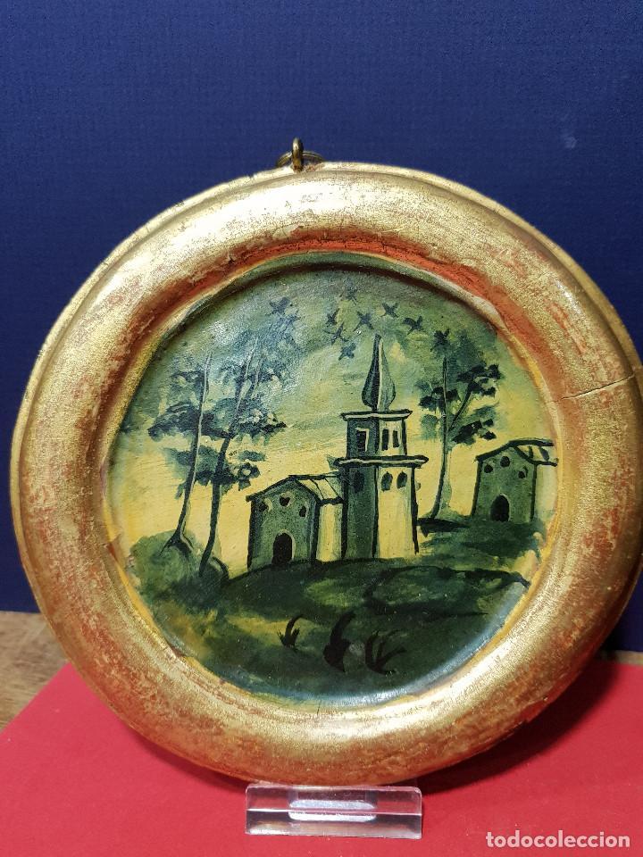 Arte: Medallones ovalados de madera (4) en grisalla azul con paisajes y arquitecturas. Delft, s. XVIII. - Foto 2 - 226669905